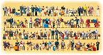 Preiser 100 figuren exclusief geschilderd